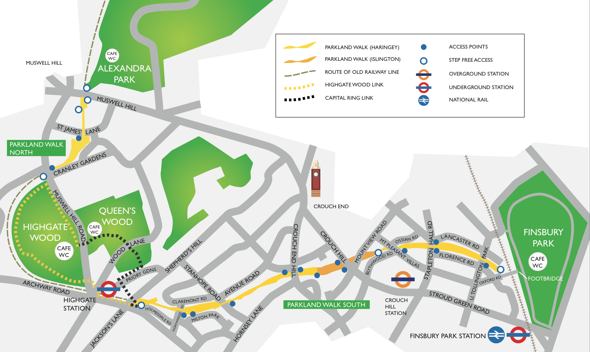 Simplified Map Of London.Map And Access The Friends Of The Parkland Walk